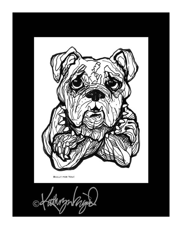 BW line drawing of bulldog