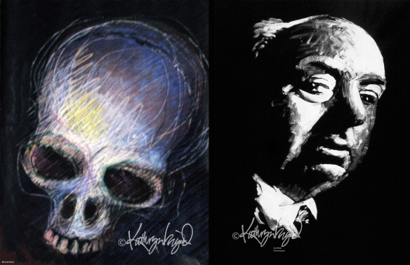 skull drawing and Hitchcock portrait