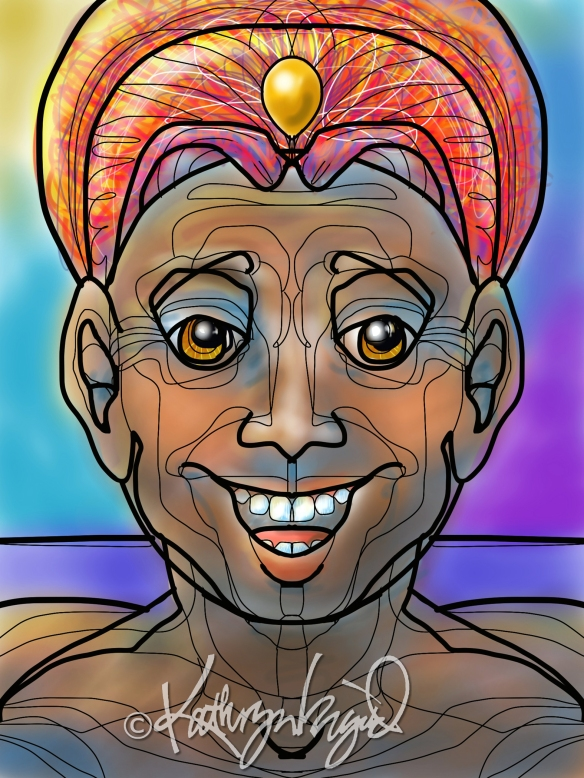 Digital illustration: Grinning Genie 2
