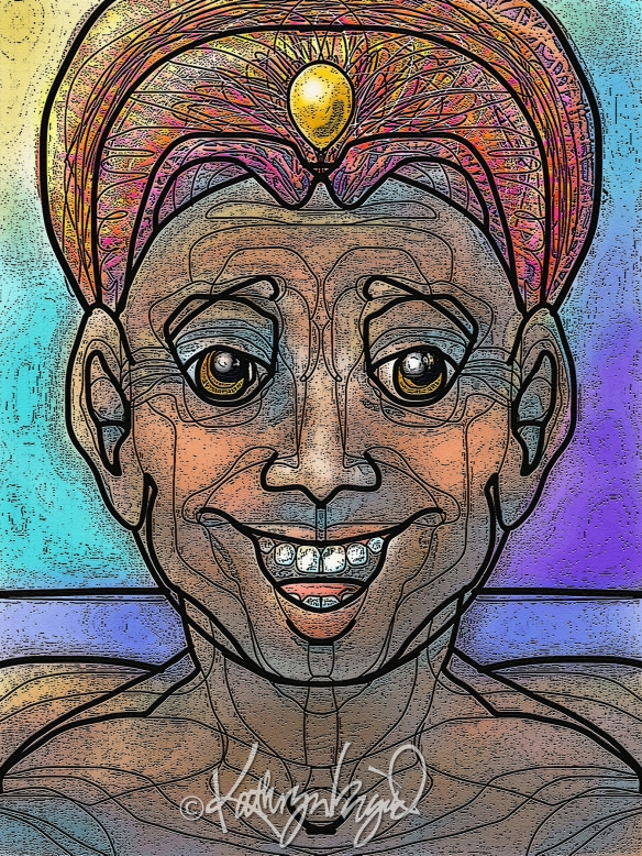Digital illustration: Grinning Genie 3