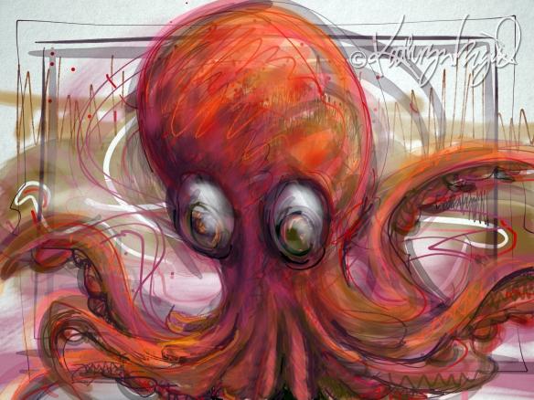 Digital illustration: Kraken is Warm for Your Form