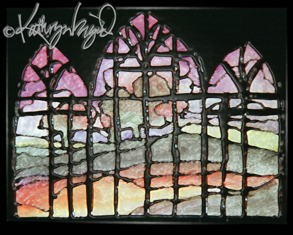 Digital illustration from a watercolor: Summer Stained Glass