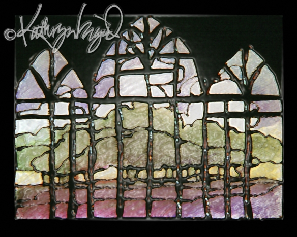 Digital illustration from a watercolor: Springtime Stained Glass