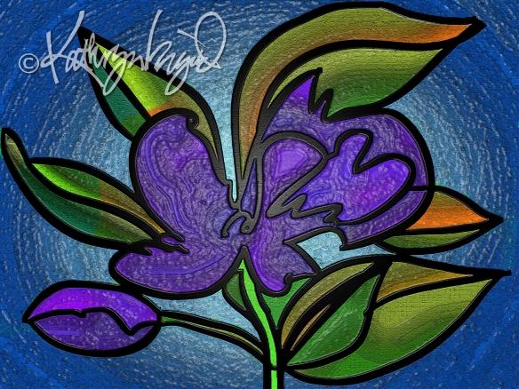 Digital illustration: Stained Glass Flower