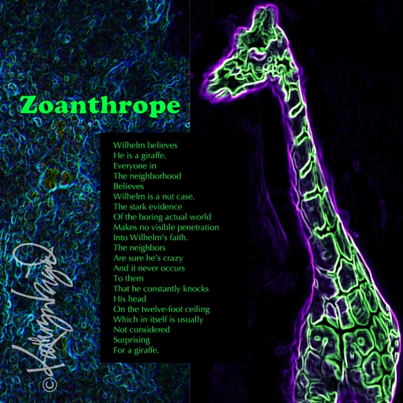 Digital illustration from photos + text: Zoanthrope