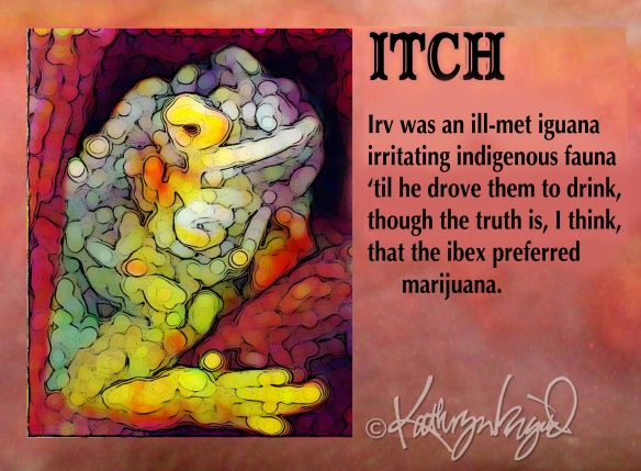 Digital illustration + text: Itch