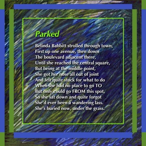 Digital illustration + text: Parked