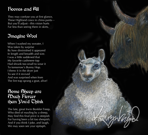 Pastel drawing + text: Wool Gathering
