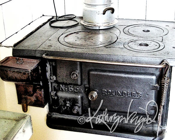 Digital illustration from a photo: The Old Swedish Stove