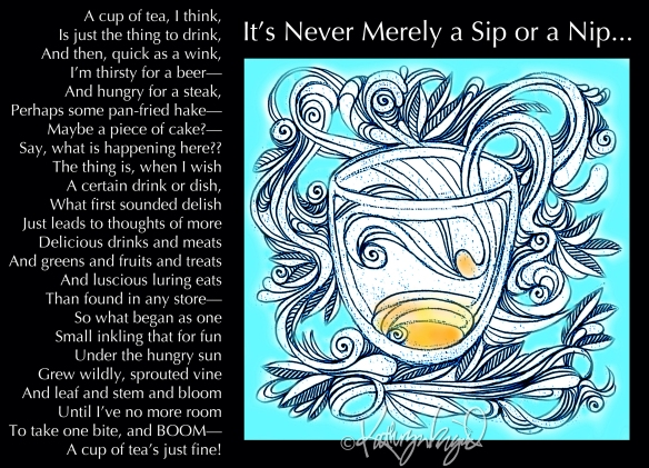Digital illustration + text: It's Never Merely a Sip or a Nip