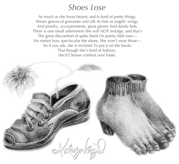 Drawing + text: Shoes Lose