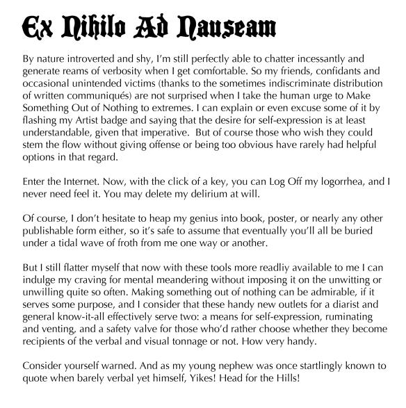 Text: Ex nihilo ad nauseam