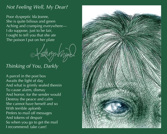 Drawing + text: Thinking of You, Darkly