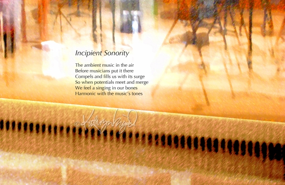 Digital illustration from a photo + text: Incipient Sonority