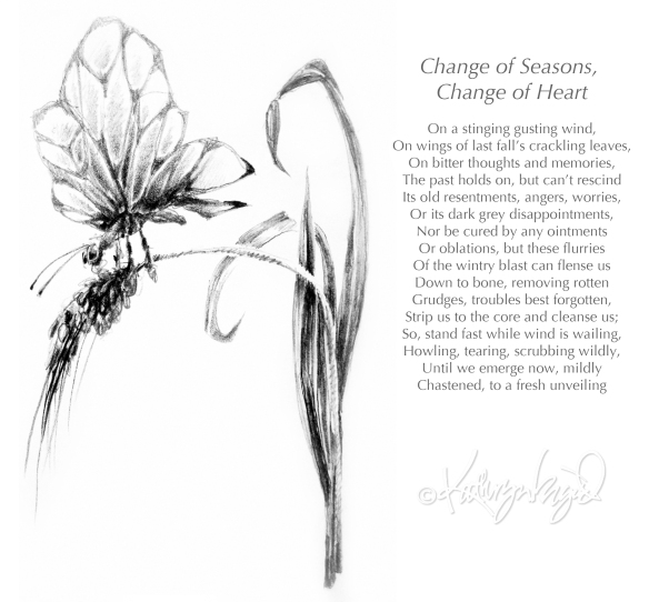 Graphite drawing + text: Change of Heart