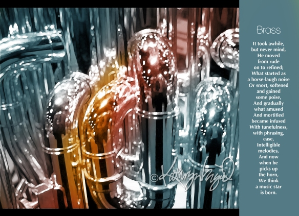 Digital illustration from a photo + text: Brass