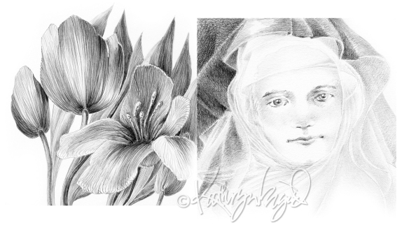 Graphite drawing: Veiled Secrets
