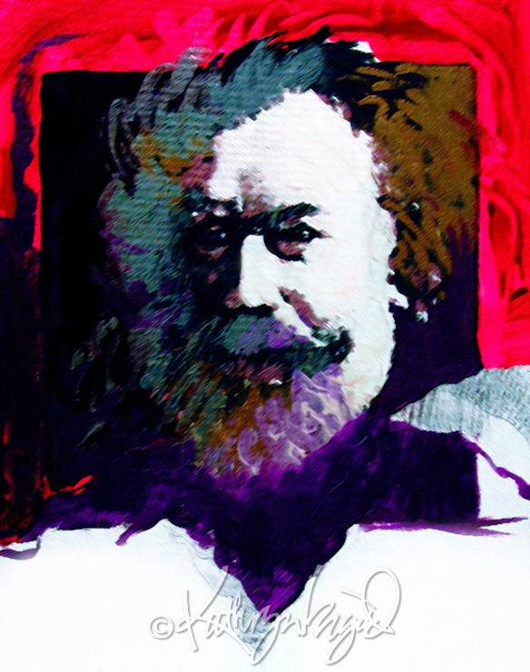 Mixed media artwork: Bearded Brahms