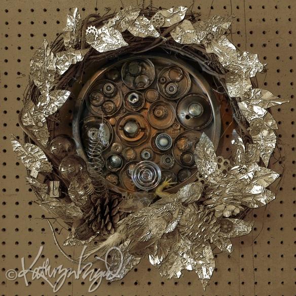 Mixed media artwork: A Sort of a Wreath