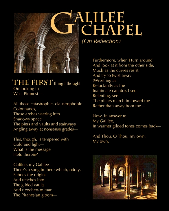 Digital illustrations from photos + text: Galilee Chapel