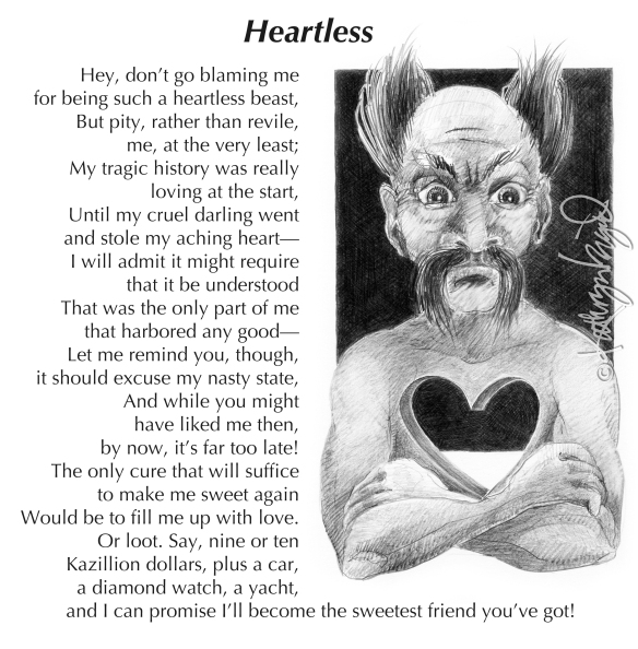 Graphite drawing + text: Heartless