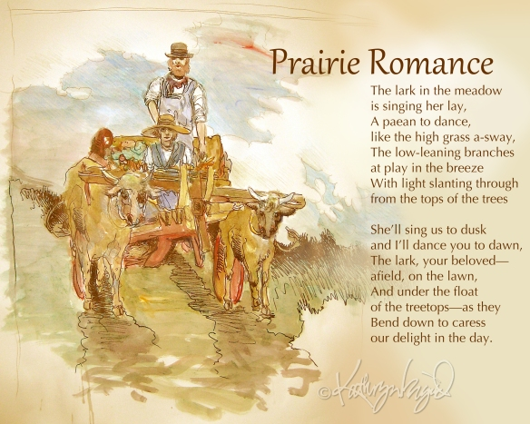 Watercolor + text: Prairie Romance