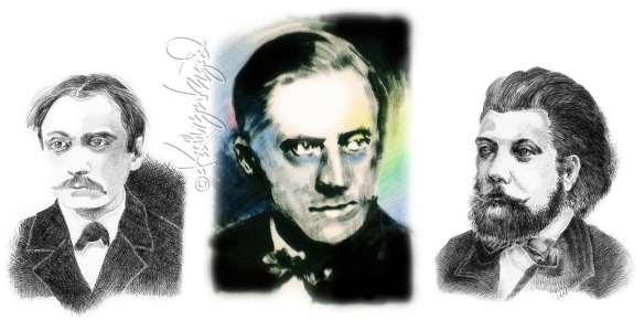 Drawing/painting illo: Three Composers