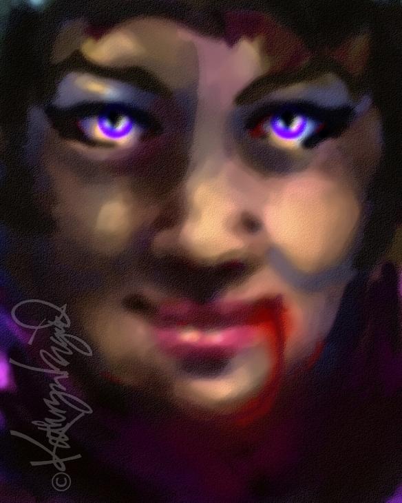 Digital illo: Violet & Vermilion