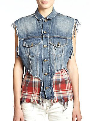 Saks Fifth Avenue Photo: R13 Denim & Plaid Combo Vest