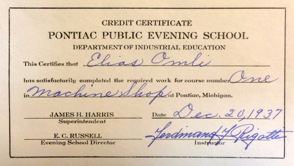 Machinist's School Certificate