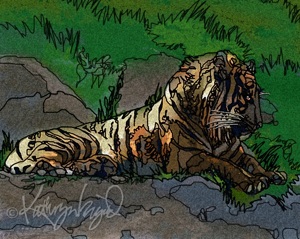 Digital illo: My Inner Tiger is Sleeping