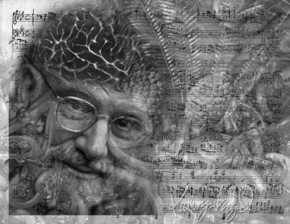 Digital collage illo: RIP Oliver Sacks