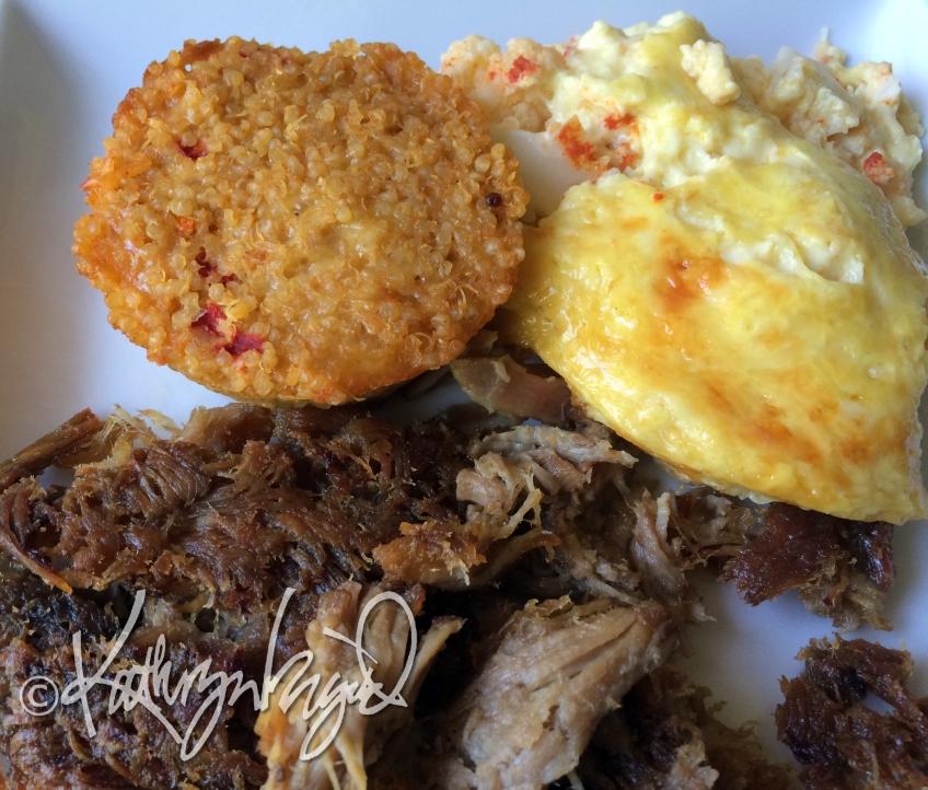Photo: Crispy Pork, a Quinoa Cake, and Crack-&-Cheese