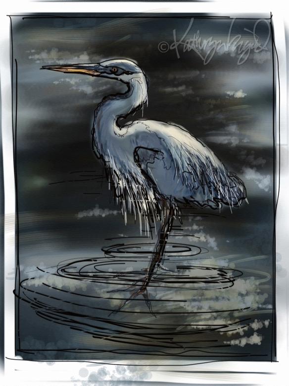 Digital illo: Egret