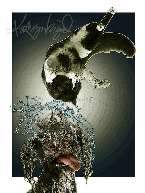 Digital illo: It's Raining Cats on Dogs
