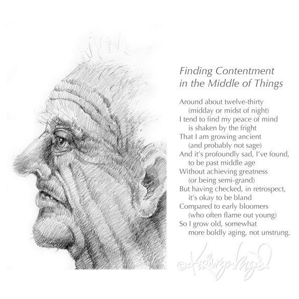 Drawing + text: Finding Contentment