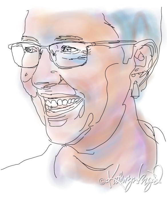 Digital illo from a photo: Self-Portraiture as Work in Progress