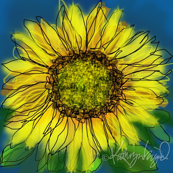 Digital illo: Sunny Sunflower