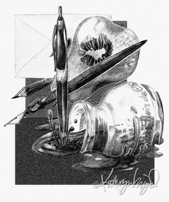 Digital illo from a graphite drawing: Love Letter #14