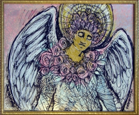 "Angel of the Roses (mixed media on paper & glass, 23.5""H x 29.5""W)"