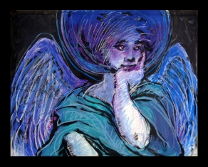"""Watching Over Me (soft pastels on a limited edition print—original mixed media artwork destroyed—23.5""""H x 29.5""""W)"""